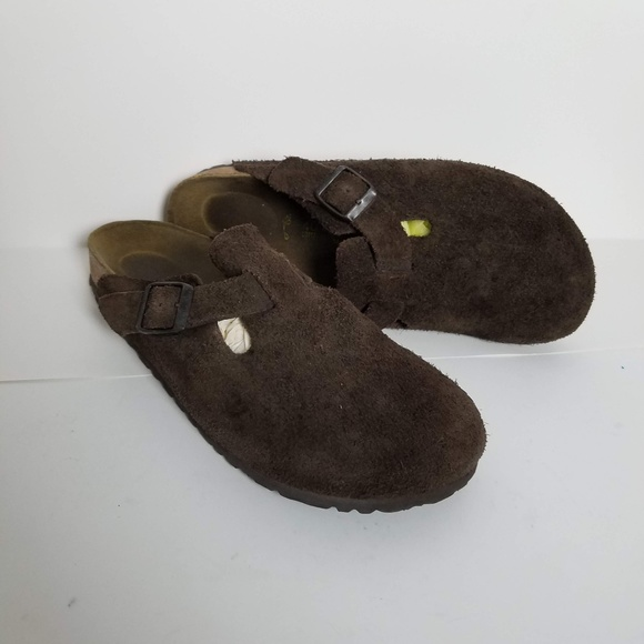 b1ed6bd1db8 Birkenstock Shoes - Birkenstock Boston Mules Chocolate Suede Leather